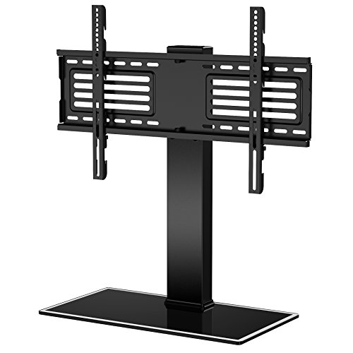 FITUEYES TV Standfuß TV Ständer Fernsehstand für 32 bis 65 Zoll OLED LCD Plasma Flach & Curved Fernseher oder Monitore höhenverstellbar Glas Max.VESA 400x650 TT105001GB - Schwarz Glas Plasma Tv-ständer