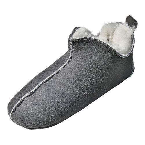 Hollert Leather Lammfell Hausschuhe - Bali Fellschuhe Lederschuhe Bettschuhe Puschen Größe EUR 46, Farbe Grau/Weiß