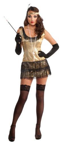 goldenes sexy Charleston Kleid Kostüm für Damen Gr. S-XL, (Sexy Flapper)