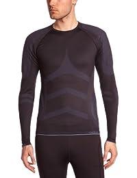 Odlo - Camiseta de compresión para hombre, tamaño L, color negro - Fiery rojo