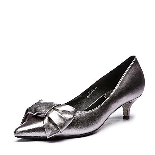 Dame arc printemps doux cuir talons aiguilles/Chaussures pointues B