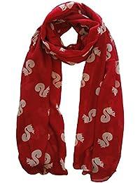 Red Squirrel Print Scarf Animal Ladies Fashion Scarves