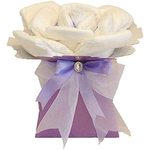 Rosa bebé niña lila–tarta de pañales/bebé niña cesta/rosa bebé ducha regalo/Nueva llegada regalo/regalo para bebé niña/rápido