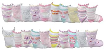 *Great Value* Baby Girl's 20 pack socks (6-8)