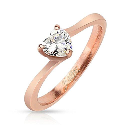 Bungsa® 54 (17.2) Rosegoldener Ring mit gefasstem Kristall Herzform für Damen rotgold rosé (Ring Fingerring Partnerringe Verlobungsringe Trauringe Damenring Edelstahlring Chirurgenstahl)