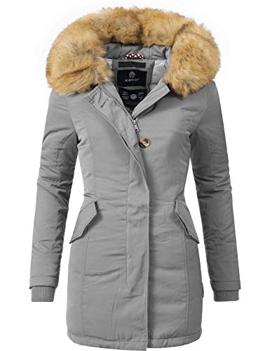 Marikoo Damen Winter Mantel Winterparka Karmaa Grau Gr. L