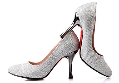 Cuckoo Frauen-Veloursleder -Pumps Rote Sohle Schuhe 8.5cm Heel Silber
