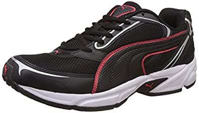 Puma Men's Aron Ind Puma Black and High Risk Red Running Shoes - 10 UK/India (44.5 EU)