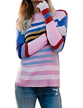 [Patrocinado]DAYLIN Mujer Casual Suéter de Rayas, Otoño Suelto Manga Larga Jerséis Prendas de Punto