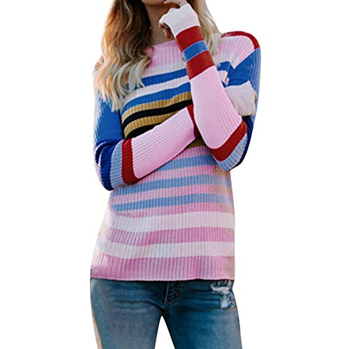 Reißverschluss Kostüm Klebeband - Damen Multicolor Striped Sweater Rosennie Frauen Casual Gestrickte Lose Langarm Pullover Sweatshirt Rundhals Langarm Hemdbluse Herbst Winter Patchwork Langarmshirts Pulli Sweats (Rot,L)