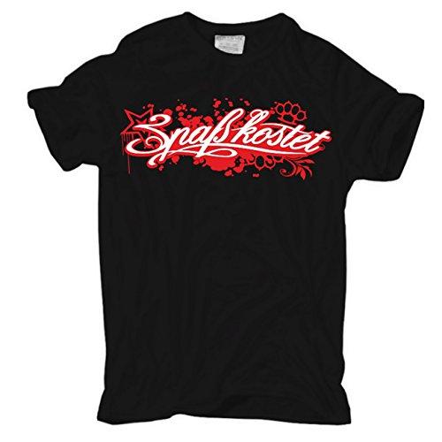 Männer und Herren T-Shirt Spaß Kostet Red Star (mit Rückendruck) Körperbetont schwarz
