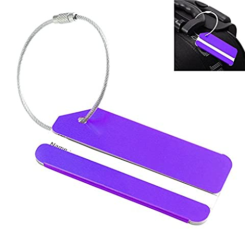 étiquette pour bagage en métal Valise Sac de voyage étiquettes ID Tags Baggage, mixte, violet