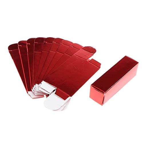 Homyl 10x Boîte de Rouge à Lèvres en Papier Etui de Baume de Lèvres Boîte de Cadeau pour Femme - Rouge