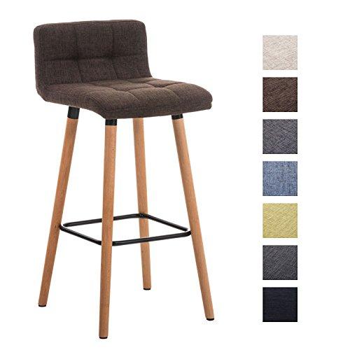 N mit Stoffbezug und Holzgestell I Thekenhocker mit Rückenlehne und Fußstütze I Barstuhl mit einer Sitzhöhe von: 75 cm Braun ()