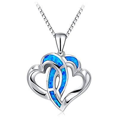 Heart Necklace, TONVER 925 Sterling Silver Blue Opal Pendant Necklace Mothers Day Gifts