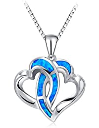 Heart Necklace, TONVER 925 Sterling Silver Blue Fire Opal Pendant Necklace Mothers Day Gifts