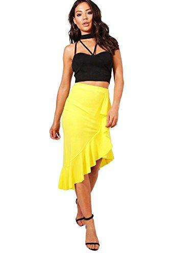 Yellow Womens Katie Asymetric Ruffle Hem Crepe Midi Skirt - 10