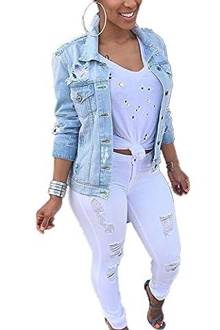 Beunique Femme Veste en Jeans Déchirés Troué Mode Manteau Grande Taille Top Chic Automne