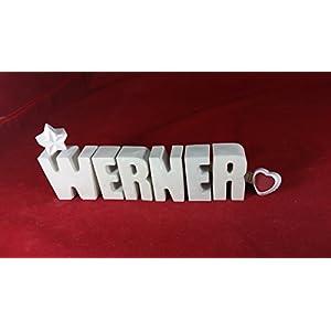 Beton, Steinguss Buchstaben 3D Deko Namen WERNER als Geschenk verpackt!