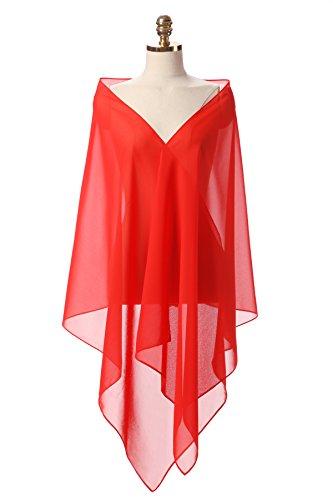 CoCogirls Chiffon Stola Schal für Kleider in verschiedenen Farben zu jedem Brautkleid - Abendkleid, Hochzeit Abend Gala Empfang (One-Size, Red 1) (Brautkleider Farbe)