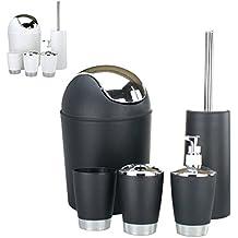 Toiletten Badezimmer Set Badset Badgarnitur -Toilettenbürste -Seifenspender - Zahnbürstenbecher und Halter - Kosmetikeimer - 5-tlg. Schwarz