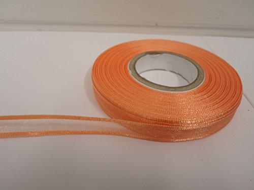 2Meter x 10mm eingefasst Organzaband dark peach doppelseitig Satin Edge 10mm (Peach Doppelseitiges Satin-band)