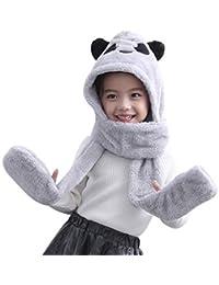 Enfant Chapeu Panda en Peluche écharpe Gant Chapeau Bonnet Capuche Écharpe  Gants Casquette Chapeau Animal pour c9146fcb9bf