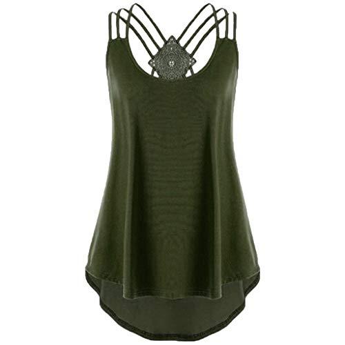OverDose Damen Bandagen ärmellose Weste High Low Tank Top Bluse T Shirt Hinweise Strappy Tops (EU-52/CN-5XL, Wgrün1)