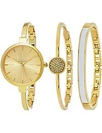 SO & CO New York 5297.Set.2 - Reloj de pulsera para mujer, correa de chapado en acero inoxidable, color oro