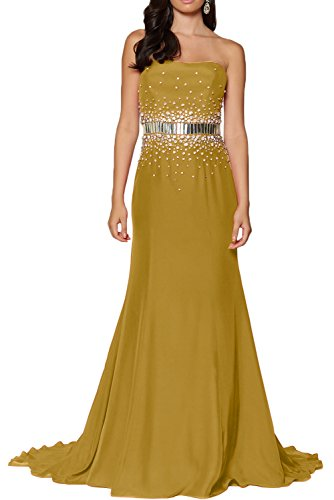 Promgirl House Damen Beliebt Satin Empire Lang Trägerlos Prom Partykleider Abendkleider Cocktail Ballkleider Lang Golden