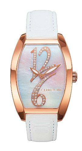 Cerruti CT067232005 - Reloj analógico de mujer de cuarzo con correa de piel blanca - sumergible a 30 metros