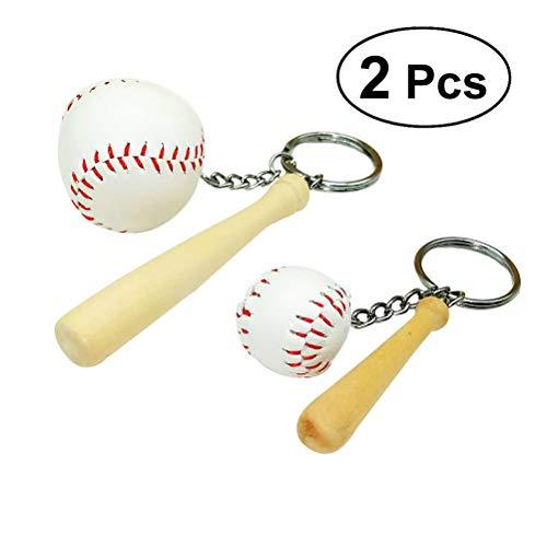 VORCOOL 2pcs Baseball Keychain Sport-Softball-Schlüsselring-Charme-hängender dekorativer Schlüsselketten-Beutel-Anhänger-Größe S und L