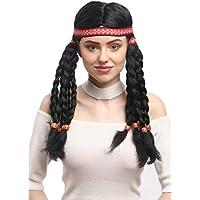 WIG ME UP ® - W-12841-P103 Peluca señoras Carnaval elaborada india Hippie 10 largas trenzas, venda