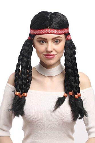 WIG ME UP - W-12841-P103 Aufwändige Perücke Damen Karneval Fasching Indianer Indianerin Hippie 10 Lange geflochtene Zöpfe Stirnband