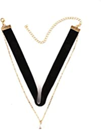 OOMPH Jewellery Black & Gold Double Layer Velvet Pearl Chokers For Girls