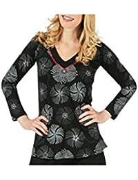 Aller Simplement - T-shirt femme en coton à manches longues col V Aller Simplement TS911