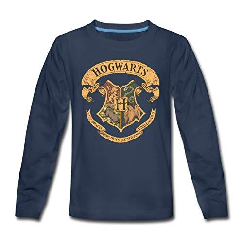 Harry Potter Hogwarts Wappen Teenager Premium Langarmshirt, 146/152 (10 Jahre), Navy
