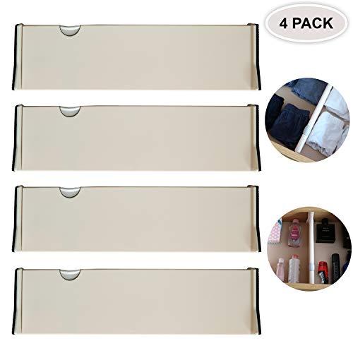 Schubladenteiler- 4er Pack Verstellbare Aufbewahrungs-Organisatoren aus Kunststoff - Erweiterbares Tiefes Schubladenteiler-System - Geeignet für Küche, Büro, Kommode (Standard-28 cm) (4 Pack)