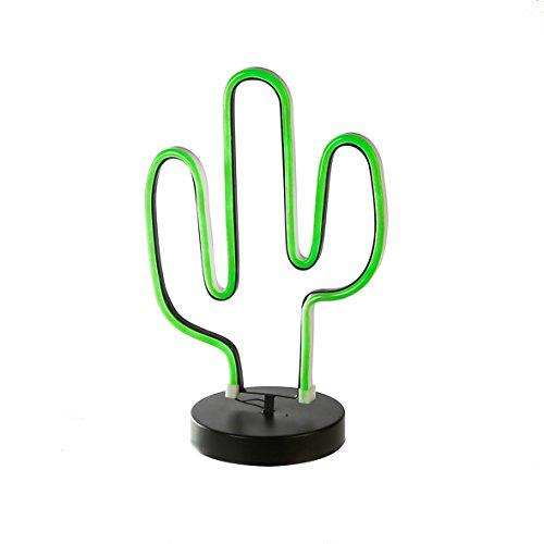 Casablanca LED Lampe Kaktus Retro schw.Base H 35 cm 2er Set B 23 x H 35 x L 15 cm Metall/Neonfle x Indoor Farbbo x 3 x AA1 5V Ba - Casablanca Drei Licht