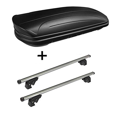 VDP Dachbox VDPMAA320 320Ltr abschließbar schwarz matt + Dachträger/Relingträger LION1 kompatibel mit Volkswagen Golf VII (5G) Variant (5 Türer) ab 13