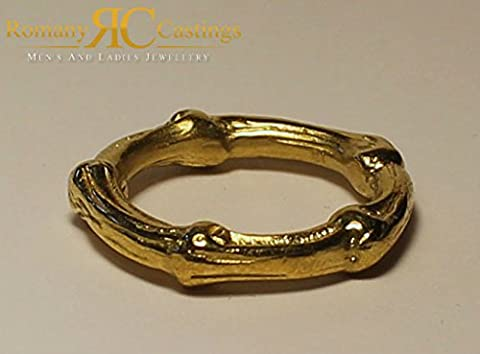 Ladies Designer Bamboo Ring cast in 9ct Yellow Gold 5.5g 5 mm Any Ladies Size