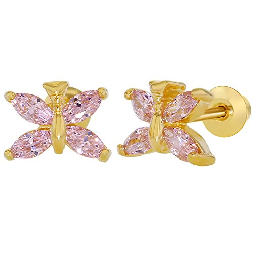 18k Yellow Gold Plated Pink Crystal Screw Back Butterfly Baby Children's Earrings