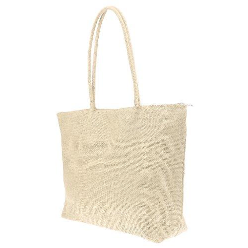Reißverschluss Stroh (MagiDeal Damen Stroh Schultertasche Tragbar Strandtaschen Mit Reißverschluss - Weiß, one size)