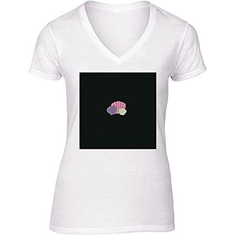 Camiseta V Cuello para Mujer - Conchas De Colores by ilovecotton