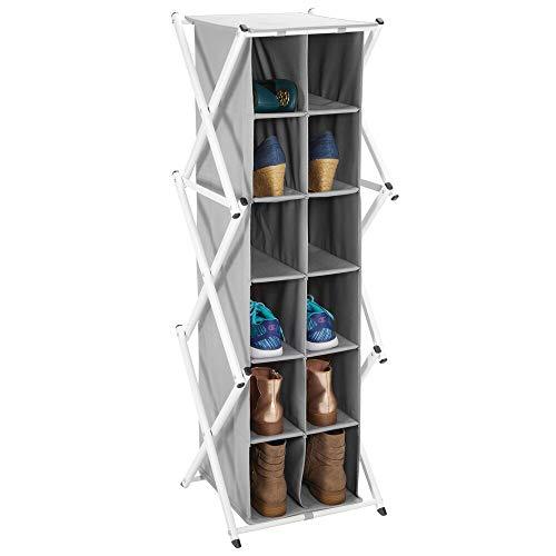MDesign Mueble zapatero alto para el pasillo, armario o dormitorio - Zapatero estrecho de metal y tela...