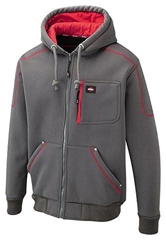 Mens Lee Cooper Jacket Bonded Sherpa Lined Fleece Comfortable Casual Warm Hood Kangaroo pockets EN342 thermal garment Hood with drawstring cord LC105 Grey