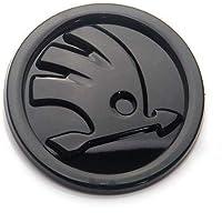 DJR PRIME Skoda Logo Skoda Badge Skoda Emblem Sticker for Skoda Cars Modified Logos (Black Front - 90MM)
