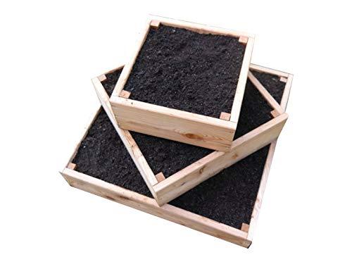 bio-garten Pyramiden-Hochbeet für Kartoffeln, Kräuter und Gemüse/aus Lärchenholz / 80 x 80 cm inkl. Wühlmausgitter