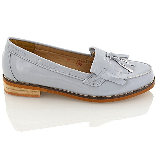 Essex Glam Mocassino Donna Decolleté con Nappa in Pelle Sintetica Grigio Brevetto