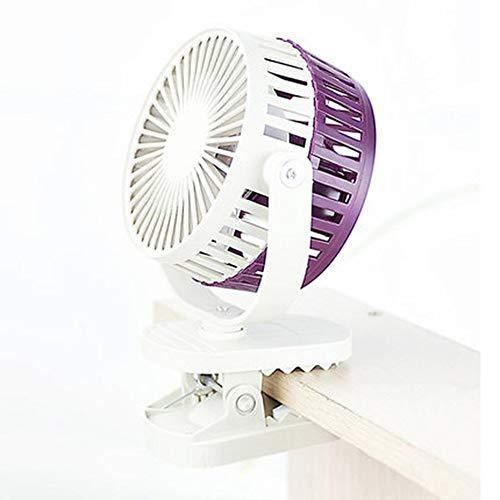 WJC Cooling Kühlung Elektrische Fan Mini Student Schlafsaal Bett Kleiner Fan Büro Schlafzimmer Nacht Stumm Desktop Clip Fan (Color : Purple) -